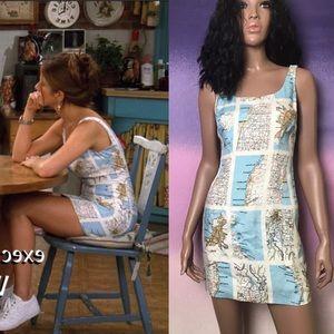 📺 Rachel Green 90s Vintage Map Dress from Friends